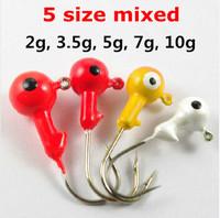20pcs/lot High Quality Jig Head Hook Fishing Lure Hooks Pesca 2g,3.5g,5g,7g,10g Mixed GT281