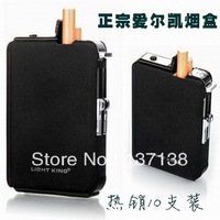 Free shipping 2014 New Fashion Creative10 Sticks Automatic Cigarette Case Ultrathin Black Matte Novelty Metal Windproof Lighter