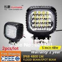 Free shipping 2pcs 5'' 48w Cree led work lights 48w spot & flood light automotive leds lights for cars exterior lighting 4x4