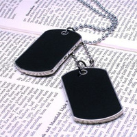 Fashion Cool Army Style Cool Black 2 Dog Tag Beauty Men Boy Pendant Necklace Free Shipping