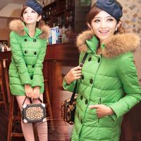 Free shipping!2013 winter warm cute  fur collar female women girl's thickening down coat jacket outwear parkas A172