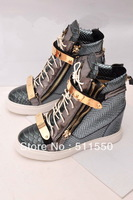 New !!Green Color Crocodile Genuine Leather Wedges Sneakers Women Giuseppe Shoes Increased Within GZ  Sneakers High Top Shoes
