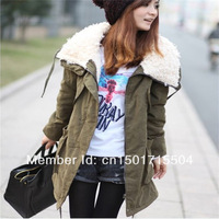 1PC Hot Selling New 2013 WOmen Warm Winter Zip Up Parka Coat Thicken Fleece Long Overcoat Casual Hooded Jackets Free Shipping