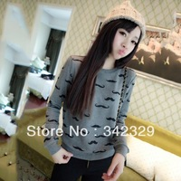 Fall 2014 new round neck long-sleeved Japanese sweet mustache cartoon printing women sweater-Free shipping