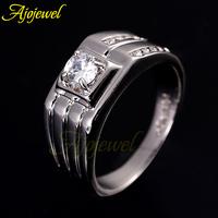 Size 9-10 Free Shipping Fashion Men Jewelry 18K White Gold Wedding Ring Classic Style
