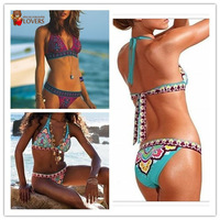 2014 Sexy Women Bikini Swimwear & Swimsuit Beachwear With Inside Pads Indian Flower Blue &Red Color S M L