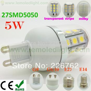 Lights Bulbs Led G9 Lamp Wholesale Dimmable 30pcs/lot 5W 27pcs smd 5050 110v 220v 230v 240v 500lm free shipping