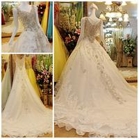 High Quality Appliques Luxury Crystal Diamond Royal Train Wedding Dress Ball Gown Bridal Dress Free shipping Wedding Dresses