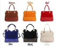 2013 new fashion bags Rivet totes 6 colors  women handbag shoulder bags long strip messenger bag Free/drop shipping , HX168