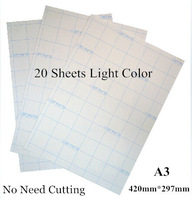 A3*20pcs Light Color No Need Cutting Laser Heat Thermal T shirt Transfer Paper With Heat Press Heat transfers For Clothes