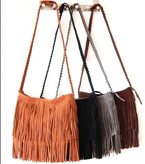 Women messenger bags Long Tassel European Style Cross Body Bags Lady Single Shoulder Bags Fashion Bags Bolsa Franja(China (Mainland))