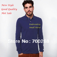 New Style Small Horse Logo Shirt Men's Polo Shirt Casual Slim Fit Stylish Long-Sleeve Tees Size:M L XL XXL Free Shipping (J-44#)