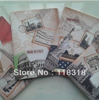 $15 minus $3,(1 Lot=4 Pcs) 4 Styles Stationery Vintage Flag Paris Notebooks Diary Paper Notepad Sketch Books Free Shipping