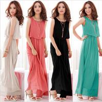 New 2014 Women Summer Dress Fashion Bohemia Maxi Sleeveless Ruffle Chiffon Long Dress Sundress Beach Plus Size Women Clothing