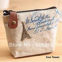 Free Shipping 4 Colors Fashion Zipper Coin Purse Wallet Burse Cartoon Key Fabric Cotton Canvas Bag,10pcs/lot