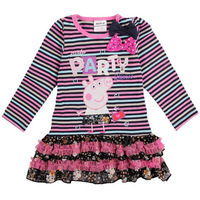 18m/6y NOVA Kids Pleated Mini-Dress Baby Fashion Printted Peppa Pig Clothing Girl's Party Striped Shirts With Cute TieTZ39