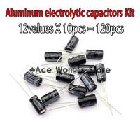 Value Pack!! 12valuesX10pcs=120pcs,0.22UF-470UF Aluminum electrolytic capacitors Assorted Kit