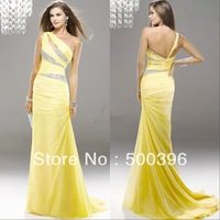 Fast Shipping In Stock Ready To Ship One Shoulder Yellow Chiffon Real Mermaid Prom Evening Dresses For Special Occasion 2014 New