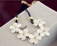 free shipping fashion flower retro vintage necklace opal necklaces for women female girls gifts free shipping wholesale