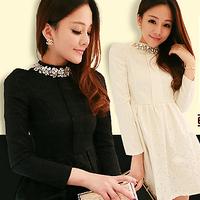 New 2013 Autumn Winter Ladies Slim Lace Rhinestones Collar Long Sleeve Mini Dress Women Sexy Jacquard Big Size Plus Warm Dresses