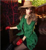 2014 new winter fur coat rabbit fur fashion sexy elegant female models sleeve raccoon fur collar and long sections Women 2156518