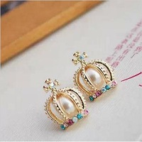 2013 New Trendy gold Crown Cross Chaped Stud Earring with Colorful Crystal Artificial Pearl for Women Free Shipping Wholesale