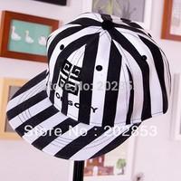 Free Shipping Korea sport GD GIYONGCHY hip hop G-DRAGON black and white stripe along the flat hat stripe hiphop Caps