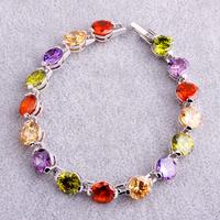 Wholesale Facile Design Noble European Jewelry Round Cut Morganite & Amethyst & Garnet & Peridot 925 Silver Bracelet