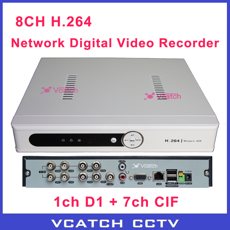Hot! White Color Economic CCTV 8ch H.264 / 1ch D1 7ch CIF Real Time Recording Network CCTV DVR Recorder (VC-D9318VEW)(China (Mainland))