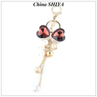 Long Lasting Style Crystal Bowknot Keychain Charm for bag Long-chain Alloy Keyrings Wholesale/Retail 6 Color