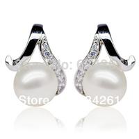 Natural Freshwater Pearl earrings for women with 925 Silver Earrings Rhinestone,7.5-8MM pearls stud earrings wholesale