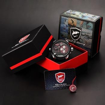 Luxury Premium Box Shark 3 Quartz Movement XXL Dial Date LCD Black Red Men's Leather Strap Sport Wrap Gift Watch / SH120+ZC155