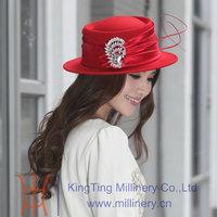 Free Shipping Winter Hat Women Wool Felt Hat Women Hat Wool Felt Ladies Party Dress Fashion Dress Brooch Two Colors Available