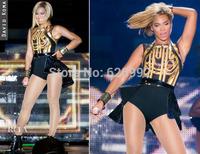 2014 Women's Fashion Beyonce DJ Female Singer Costumes Dance Costume Gauze Patchwork Print One Piece Dovetail Set Free Shipping