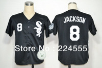 Free Shipping Wholesale&Retail Mens Chicago White Sox Jersey #8 Jackson Throwback Baseball Jersey Embroidery Logo Mix Order