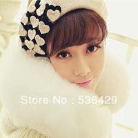 2013 new Autumn-winter Women Woolen Beanie Hat,Cyanine cyanine pearl Love wool beret painter cap free shipping