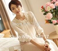New 2014 Fashion Elegent Lady Lace Hollow Out Chiffon Embroidery Blouse Shirt Korea Style Women Basic Top render leisure