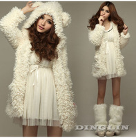 New Womens Long Sleeve Winter Fluffy Hoodie Faux Fur Jacket Coat Overcoat Beige Free Shipping