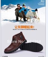 2013 new, men, winter, natural leather, business, leisure, plus velvet warm, snow boots, men's boots, free shipping