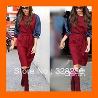 2013 New Fashion Autumn Casual Victoria Beckham Dress cotton red long-sleeve lacing silk one-piece dress Free Shipping