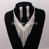 Free Shipping ,2014 New Fashion Rhinestone Wedding Necklace Sets Chain Crystal Bridal Costume Jewelry Sets