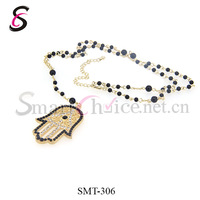 Wholesale Beads Chain Beaded Necklaces For Women Hamsa Hand Pendant Cz Crystals