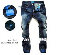 2014 new arrival men's fashion jeans famous brand dark blue slim straight 100% cotton denim pants designer jeans man large size