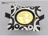 4 pcs/lot The Fashion Black & White Ceramic Panel Ceramic Shell Aluminum Lamp Body 3W LED Downlights Free Shipping