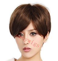 Capless 100% Kanekalon Short Length Brown Straight  Wig with Bangs short Women Synthetic Wig
