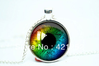 10pcs/lot Rainbow Eye Necklace, Third Eye Jewelry, Evil Eye Pendant Glass Cabochon Necklace