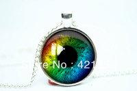 10pcs/lot Rainbow Eye Necklace, Third Eye Jewelry, Evil Eye Pendant Glass Cabochon Necklace