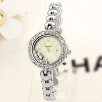 Retail& Wholesale! women watch New 2013 Designer Style Women Rhinestone Watches, Gift White Gold Steel Watches