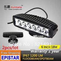 "Free shipping 2pcs 6"" 18W LED Work light mini Working Driving Lamp Spot Flood Truck SUV ATV Off-Road Car 12v 24v Black White"