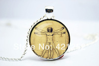 10pcs/lot Leonardo da Vinci Pendant, The Vitruvian Man Charm With Necklace, Silver Plate Glass Cabochon Necklace